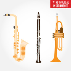 Set of classical wind musical instruments, vector illustration.