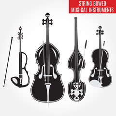 Set of black and white string bowed musical instruments, vector illustration