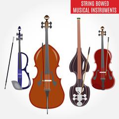 Set of string bowed musical instruments, vector illustration