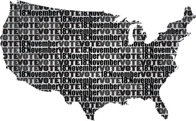 USA map vector thit text vote