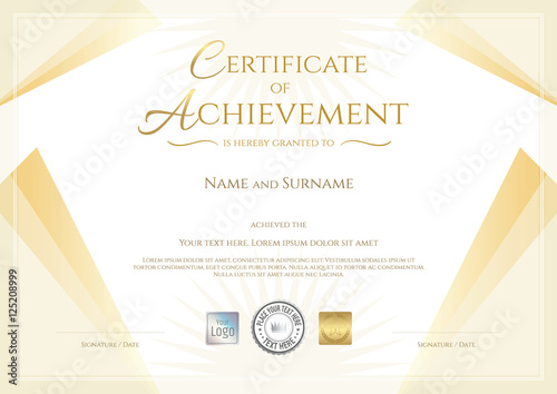 modern certificate of achievement in gold theme stock image and