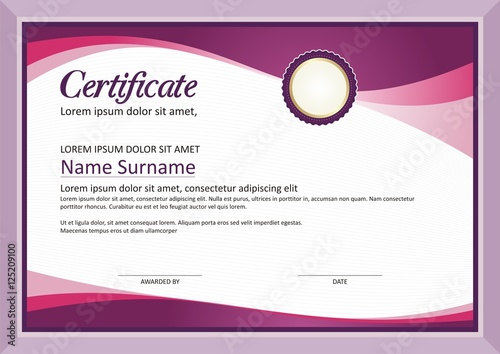 purple modern diploma certificate template design