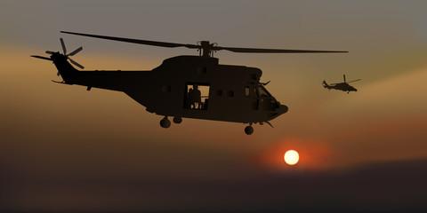 Hélicoptère - Mission - Crépuscule