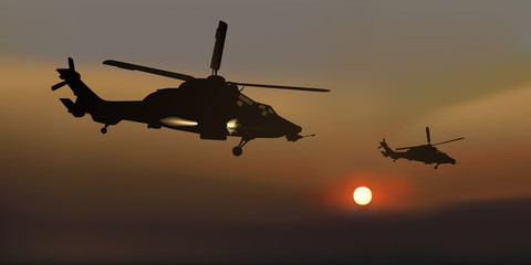Hélicoptère - attaque - Crépuscule
