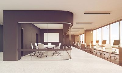 Meeting room with glass wall and row of desktops, toned