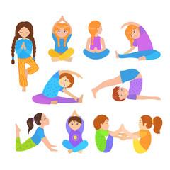 Cute kids doing yoga exercises. Yoga kids set. Gymnastics for children and healthy lifestyle. Vector illustration.