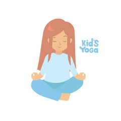 Cute girl doing yoga exercises. Gymnastics for children and healthy lifestyle. Vector illustration.