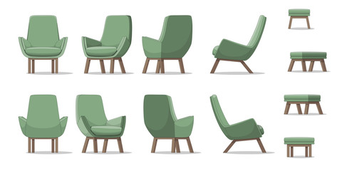 Illustration of an armchair in different perspectives