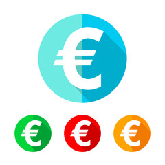 Set of colored euro icons. Vector illustration.