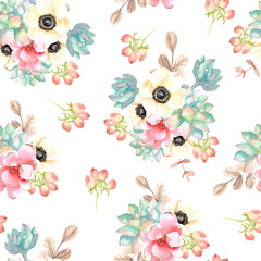 Seamless pattern with flowers and succulents. Watercolor hand drawn