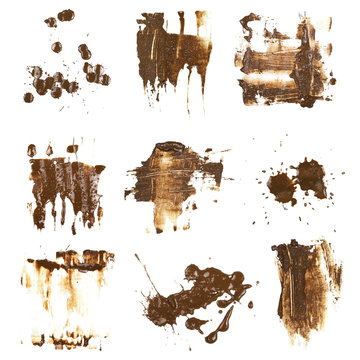 set drops of mud sprayed isolated on white background, collection stain with clipping path