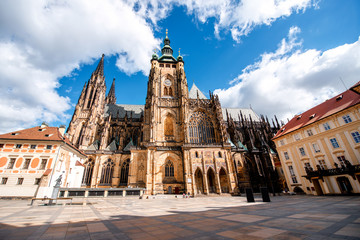 Wall Murals Prague View on saint Vitus cathedral on the castle hill in lesser town in Prague city