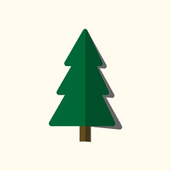 Christmas tree sign. Simple cartoon icon. Green template silhouette, isolated on white background. Flat design. Symbol of holiday, winter, Christmas, New Year celebration. Vector illustration