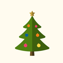 Christmas tree with balls, star. Cartoon icon. Green silhouette decoration sign, isolated on white background. Flat design. Symbol of holiday, Christmas, New Year celebration. Vector illustration