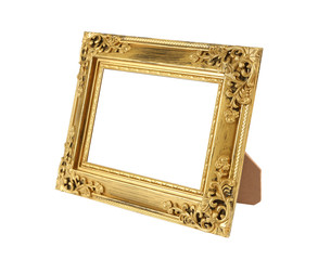 empty gold photo frame isolated on white