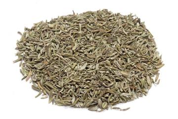 Thym herbes de provence, Thymus vulgaris feuilles séchées sur fond bland