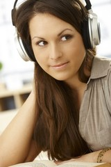 Closeup portrait of woman with headphones