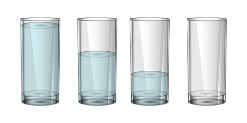 A full glass and an empty glass of water.Transparent glass. On a white background.