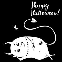 Happy Halloween, lettering, lazy devil on black