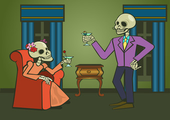 Cheers with a  couple of skeletons drinking cocktails. Vector Illustration