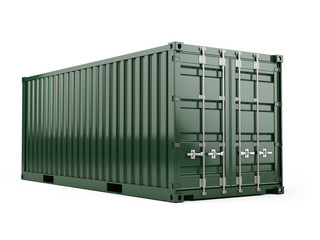 Green cargo freight shipping container against a white background. 3d render