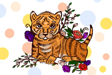 Cute little tiger. Hand drawn illustration. Decorative animal illustration.