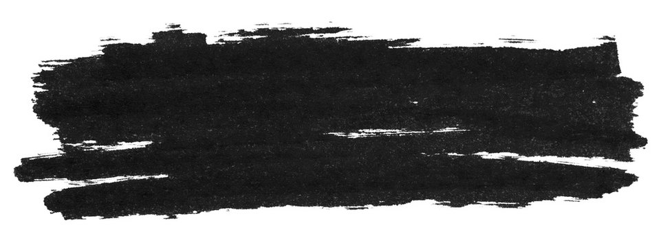 Black marker paint texture isolated on white background