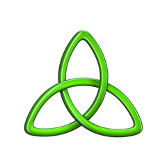 3d illustration of Trinity knot or Triquetra isolated on white background