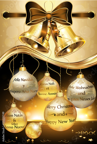 greeting card for new year with message in many languages english merry christmas and