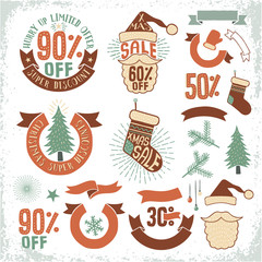 Christmas sale logos. New Year discounts emblem. Xmas design elements. Vector vintage  layered illustration.