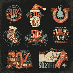 Christmas discount New Year sale - vintage retro posters, signs, logos on a black background. Vector illustration layered.