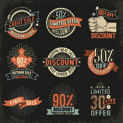 Vintage retro signs emblem for discounts, sales - color version on a black background. Vector layered illustration.