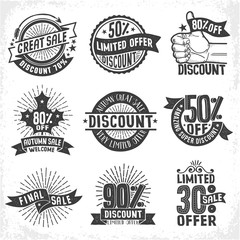 Discounts seasonal sales logos, labels, badges. Limited Offer. Vintage retro vector monochrome illustration. Grunge texture on a separate layer.