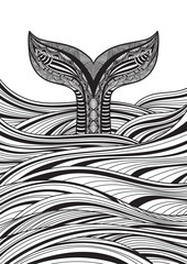 Stylized hand drawn whale tail in ocean waves, vector illustration, coloring book page for adults