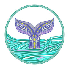 Stylized hand drawn whale tail in ocean waves, vector illustration, round decorative element