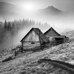 Mountain Carpathian village. Black and white