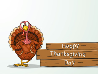 Funny cartoon Thanksgiving turkey with greetings