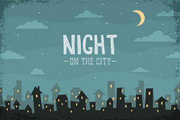 Night panorama of the city in a cartoon style. Silhouettes of houses and roofs, clouds, crescent. Vector  layered illustration.