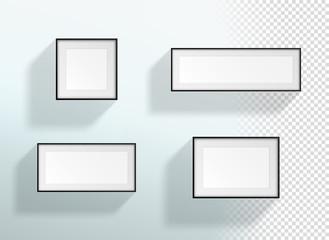 Vector Blank 3d Black & White Transparent Frames Set