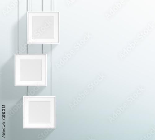 Vector 3 Blank White Realistic Square Hanging Frames Design\