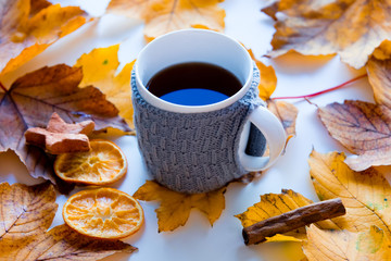 Cup of coffee or tea with lemon