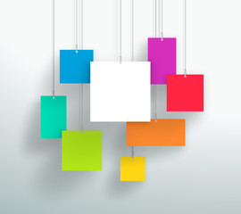 Vector 3d Blank Colourful Square Boxes Hanging Design