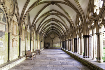 Image of the external covered walkway of the Salisbury Cathedral Cloisters. An exterior walkway around the outside of the Cathedral.