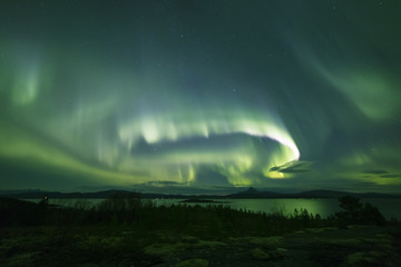 powerful aurora across nightsky