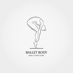 Dance icon concept. Ballet Body studio logo design template. Character silhouette isolated. Fitness class banner background with symbol sign abstract ballerina in dancing pose. Vector illustration.