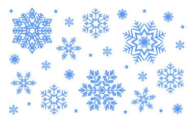 Blue christmas snowflakes set