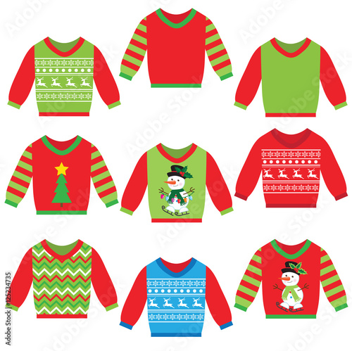 Ugly Christmas Sweater Cartoon.Ugly Christmas Sweater Vector Cartoon Illustration Stock