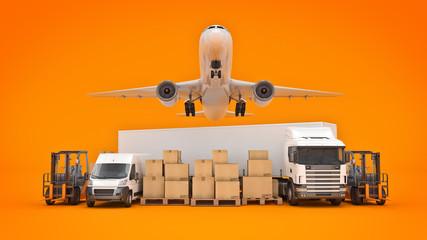 world wide cargo transport concept. 3d rendering - fototapety na wymiar