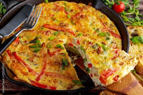 Photo: Frittata made of eggs, potato, bacon, paprika, parsley, green ...