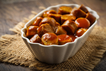 Currywurst - fried sausage with ketchup